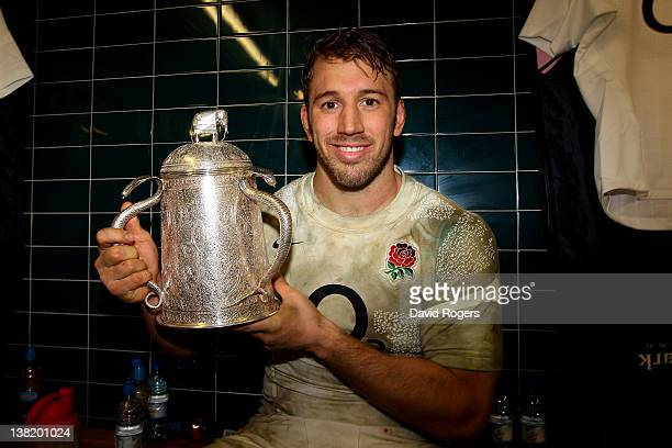 England Captain Chris Robshaw poses with the Calcuta Cup following his team's 13-6 victory during the RBS Six Nations match between Scotland and...