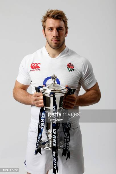 England captain Chris Robshaw poses with the Six Nations trophy during the RBS Six Nations launch at The Hurlingham Club on January 23 2013 in London...