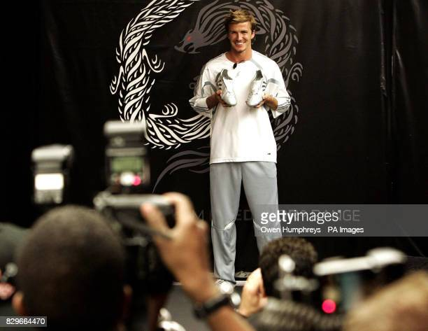 England captain David Beckham during the launch of the new Adidas Predator Dragon football boots at the Adidas store in New York