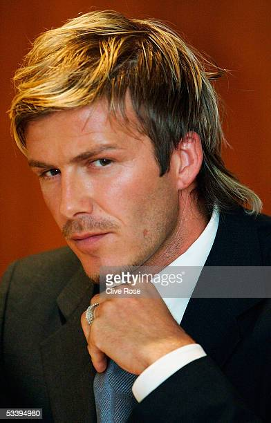 England captain David Beckham talks to the press at the team hotel ahead of the International friendly match between Denmark and England at The...