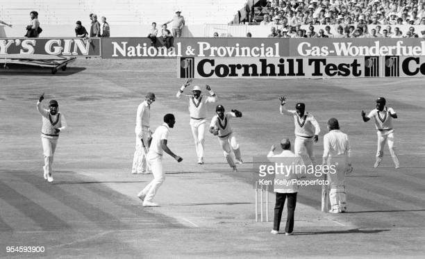 England captain David Gower is caught behind for 43 runs by West Indies wicketkeeper Jeffrey Dujon off the bowling of Roger Harper during the 3rd...