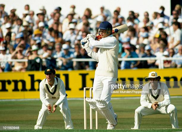 England captain David Gower pulls a ball from Australia's Merv Hughes for 4 runs during the third day of the 1st Test match between England and...