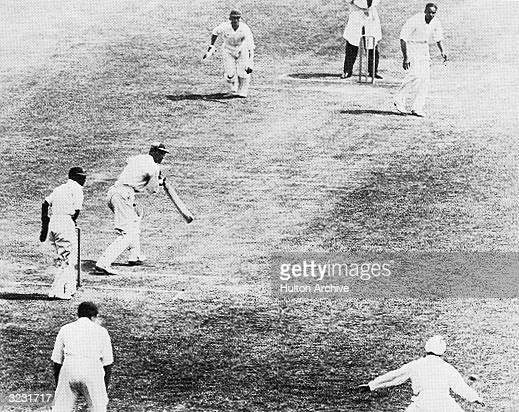 England captain Douglas Jardine batting against India at Lords.