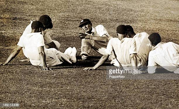 England captain Douglas Jardine making a point to his players following the fall of an Australian wicket during the 1st Test match in the infamous...