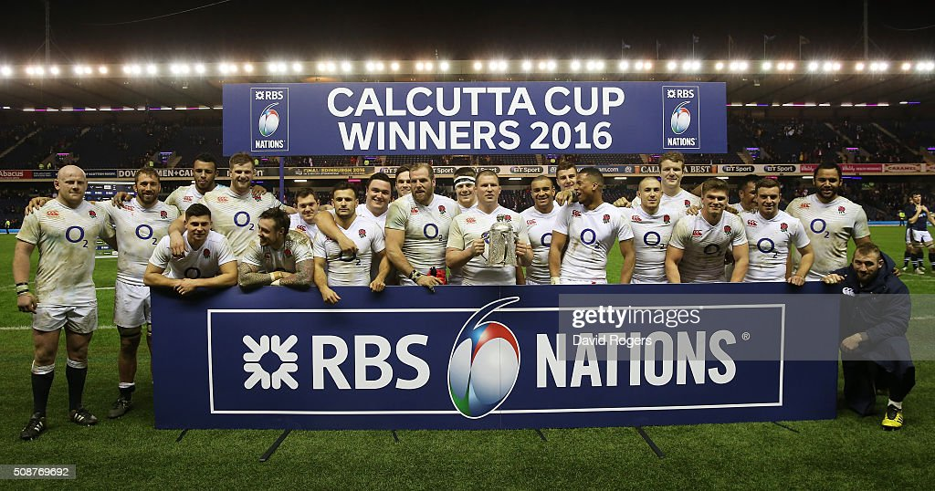 England captain Dylan Hartley and his team pose with the Calcutta Cup following their victory during the RBS Six Nations match between Scotland and England at Murrayfield Stadium on February 6, 2016 in Edinburgh, Scotland.