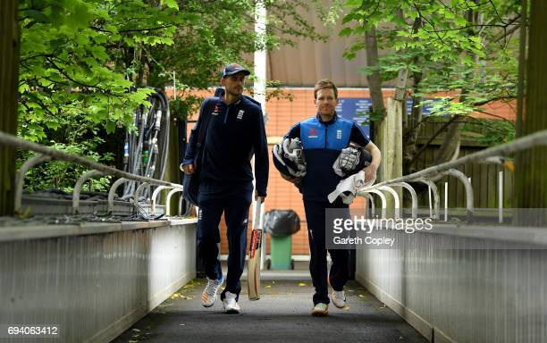 England captain Eoin Morgan and Alex Hales arrive for a nets session at Edgbaston on June 9 2017 in Birmingham England
