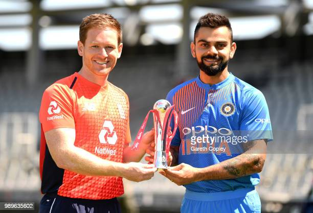 England captain Eoin Morgan and India captain Virat Kohli hold the series trophy ahead of tomorrow's Vitality International T20 at Emirates Old...