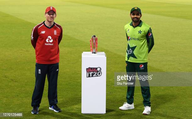 England captain Eoin Morgan and Pakistan captain Babar Azam pose with the Vitality Trophy after the series was tied in the 3rd Vitality International...