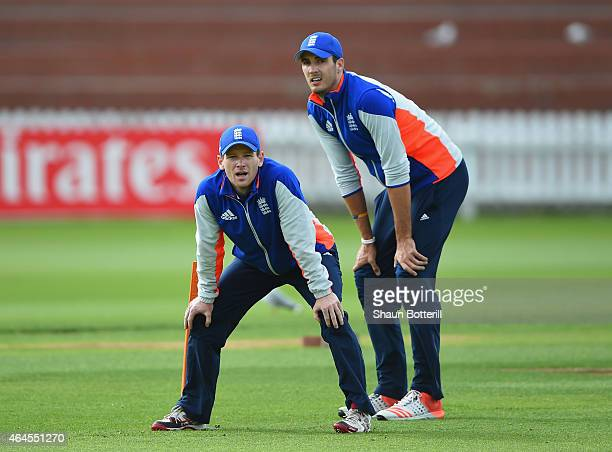 England captain Eoin Morgan and Steven Finn look on during an England nets session at Basin Reserve on February 27 2015 in Wellington New Zealand