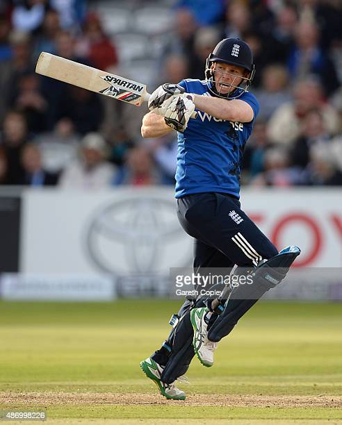 England captain Eoin Morgan bats during the 2nd Royal London OneDay International match between England and Australia at Lord's Cricket Ground on...