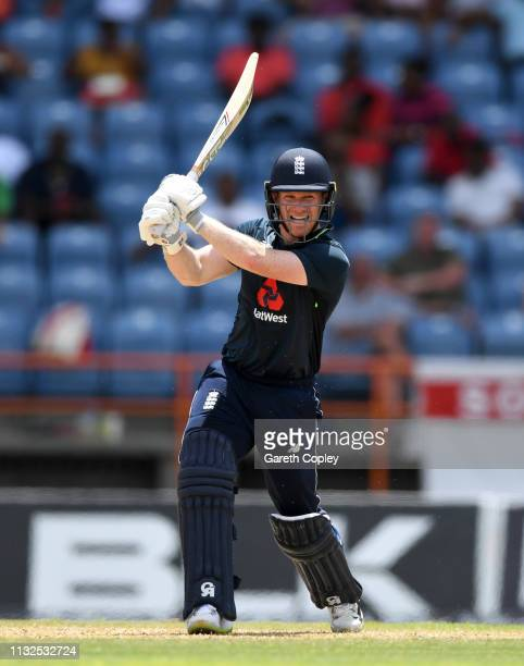 England captain Eoin Morgan bats during the 4th One Day International match between the West Indies and England at Grenada National Stadium on...
