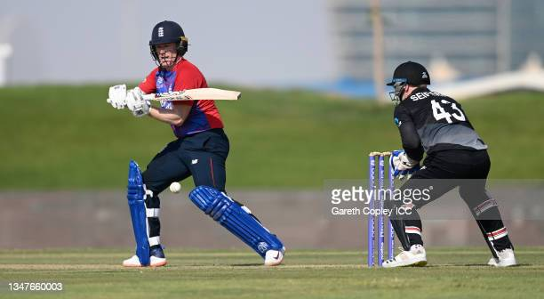 England captain Eoin Morgan bats during the England and New Zealand warm Up Match prior to the ICC Men's T20 World Cup at on October 20, 2021 in Abu...