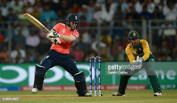 England captain Eoin Morgan bats during the ICC World Twenty20 India 2016 Super 10s Group 1 match between South Africa and England at Wankhede...