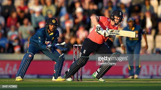 England captain Eoin Morgan bats during the Natwest International T20 match between England and Sri Lanka at Ageas Bowl on July 5 2016 in Southampton...
