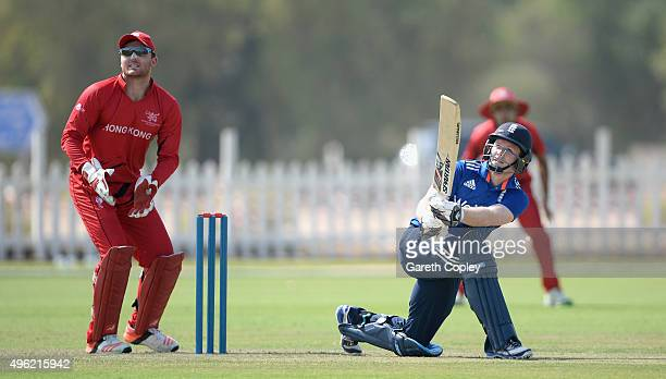 England captain Eoin Morgan bats during the tour match between Hong Kong and England at Zayed Cricket Stadium Nursery Ground on November 8 2015 in...