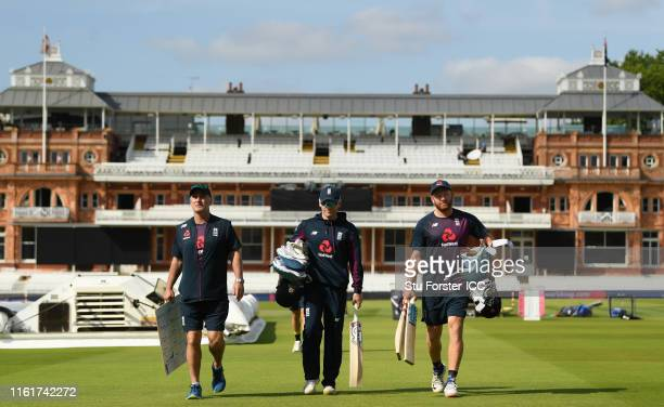 England captain Eoin Morgan batsman Jonny Bairstow and batting coach Graham Thorpe make their way to nets prior to the Final of the ICC Cricket World...