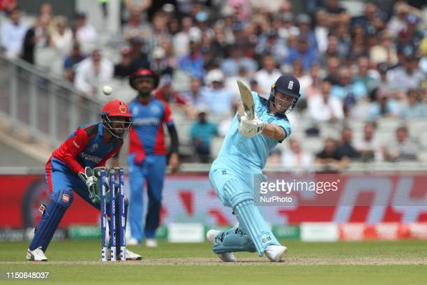England captain Eoin Morgan batting during the ICC Cricket World Cup 2019 match between England and Afghanistan at Old Trafford Manchester on Tuesday...
