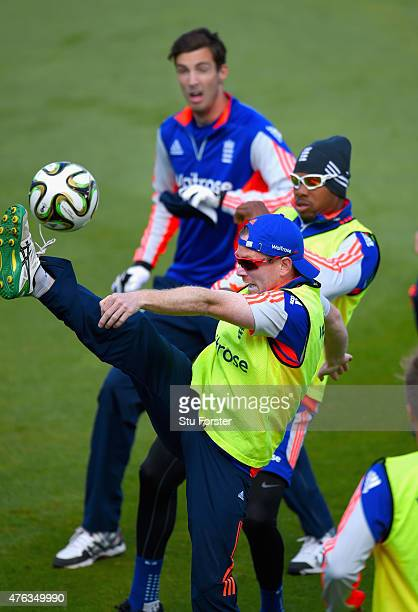 England Captain Eoin Morgan beats Chris Jordan to the ball as Steven Finn looks on during England nets ahead of the first Royal London One day series...