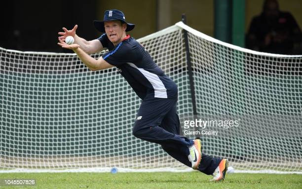 England captain Eoin Morgan catches during a nets session at P Sara Oval on October 4, 2018 in Colombo, .