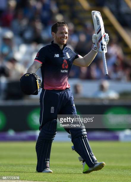 England captain Eoin Morgan celebrates reaching his century during the 1st Royal London ODI match between England and South Africa at Headingley on...