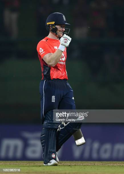 England captain Eoin Morgan celebrates winning the 3rd One Day International match between Sri Lanka and England at Pallekele Cricket Stadium on...