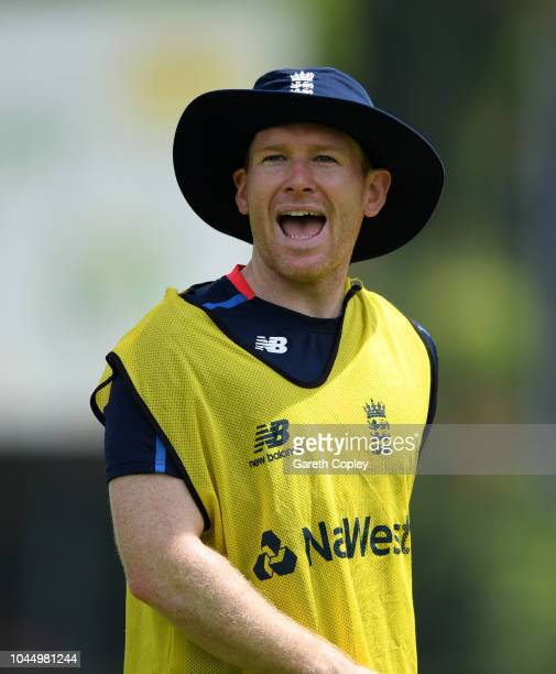 England captain Eoin Morgan during a nets session at P Sara Oval on October 3 2018 in Colombo