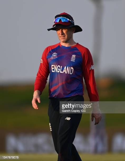 England captain Eoin Morgan during the England and New Zealand warm Up Match prior to the ICC Men's T20 World Cup at on October 20, 2021 in Abu...