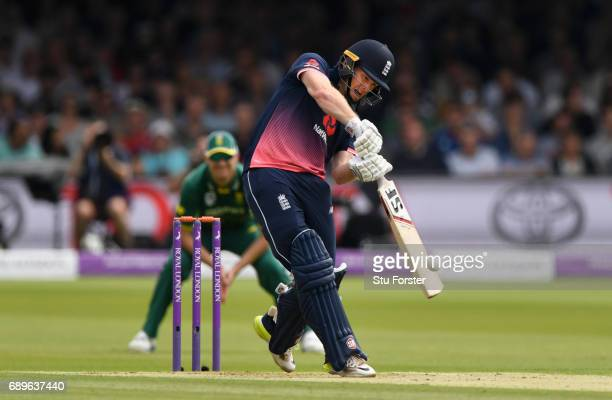 England captain Eoin Morgan hits out during the 3rd Royal London Cup match between England and South Africa at Lord's Cricket Ground on May 29 2017...