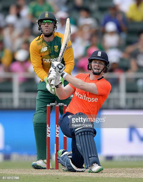 England captain Eoin Morgan hits out for six runs during the 2nd KFC T20 International match between South Africa and England at Bidvest Wanderers...