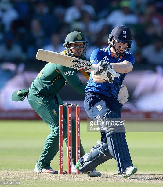England captain Eoin Morgan hits out for six runs during the 2nd Momentum ODI between South Africa and England at St George's Park on February 6 2016...