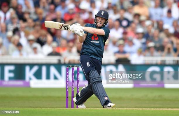 England captain Eoin Morgan hits out for six runs during the 3rd Royal London ODI match between England and Australia at Trent Bridge on June 19 2018...