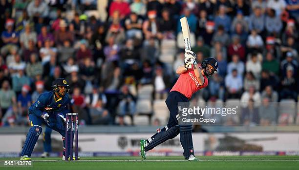 England captain Eoin Morgan hits out for six runs during the Natwest International T20 match between England and Sri Lanka at Ageas Bowl on July 5...