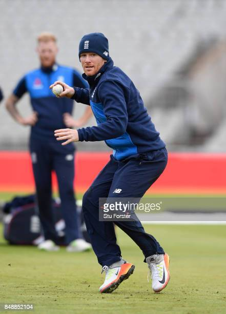 England captain Eoin Morgan in action during England nets ahead of the 1st ODI against West Indies at Old Trafford on September 18 2017 in Manchester...
