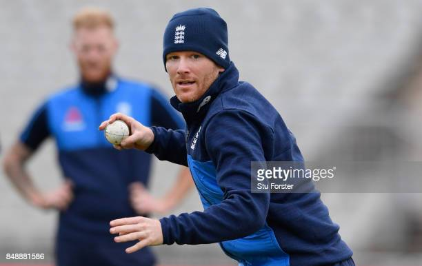 England captain Eoin Morgan in action watched by Ben Stokes during England nets ahead of the 1st ODI against West Indies at Old Trafford on September...