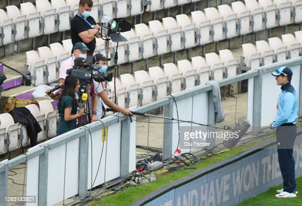 England captain Eoin Morgan is interviewed by Isa Guha of BBC Sport prior to the Second One Day International between England and Ireland in the...