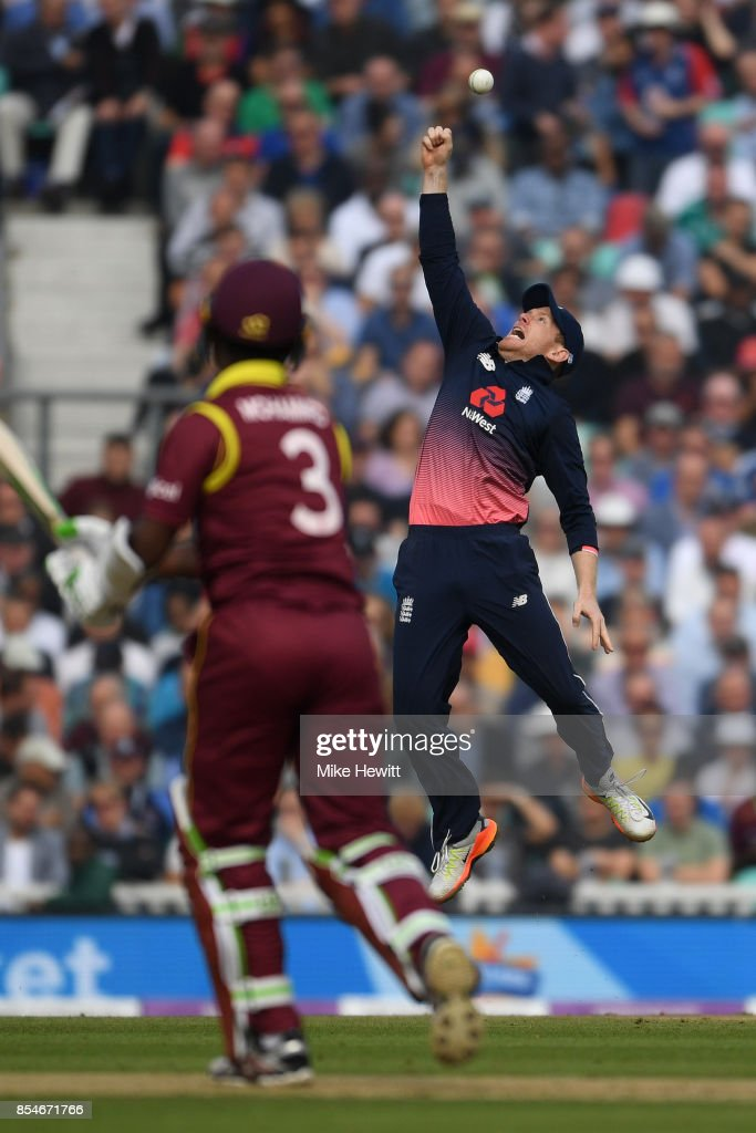 England captain Eoin Morgan just fails to hang on to a chance offered by Jason Mohammed of West Indies during the 4th Royal London One Day International between England and West Indies at The Kia Oval on September 27, 2017 in London, England.