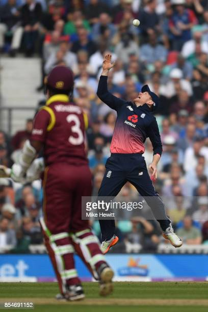 England captain Eoin Morgan just fails to hang on to a chance offered by Jason Mohammed of West Indies during the 4th Royal London One Day...