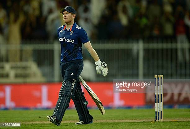 England captain Eoin Morgan leaves the field after being bowled by Shoaib Malik of Pakistan during the 3rd One Day International match between...