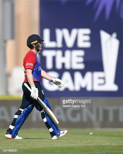 England captain Eoin Morgan leaves the field after being dismissed by Ish Sodhi of New Zealand during the England and New Zealand warm Up Match prior...