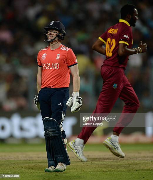 England captain Eoin Morgan leaves the field after being dismissed by Samuel Badree of the West Indies during the ICC World Twenty20 India 2016 Final...