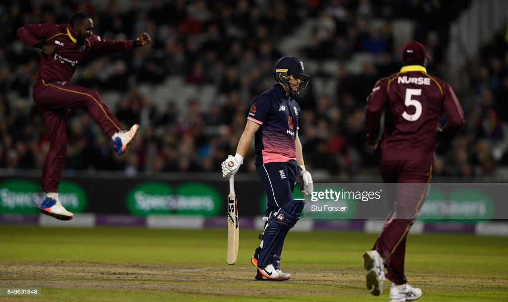 England captain Eoin Morgan leaves the field after being dismissed by Kesrick Williams for 10 runs during the 1st Royal London One Day International match between England and West Indies at Old Trafford on September 19, 2017 in Manchester, England.