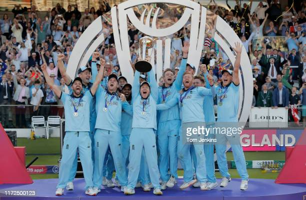 England captain Eoin Morgan lifts the trophy after the England v New Zealand ICC Cricket World Cup Final 2019 at Lords Cricket Ground on July 14th...