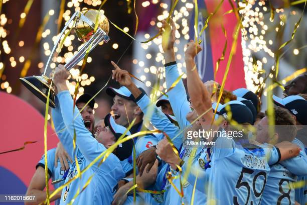 England captain Eoin Morgan lifts the World Cup Trophy at the end of the Final of the ICC Cricket World Cup 2019 between England and New Zealand at...