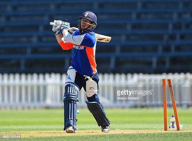 England captain Eoin Morgan plays a shot during an England nets session at Basin Reserve on February 18 2015 in Wellington New Zealand