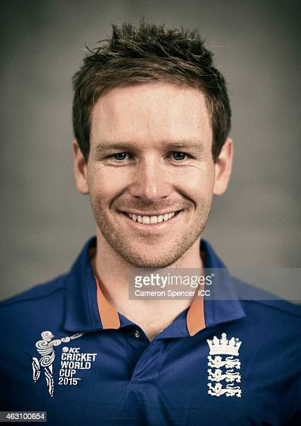 England captain Eoin Morgan poses during the England 2015 ICC Cricket World Cup Headshots Session at the Intercontinental on February 7 2015 in...