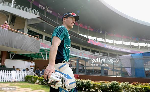 England captain Eoin Morgan prepares to bat during a nets session ahead of tomorrrow's ICC World Twenty20 India 2016 Final between England and West...