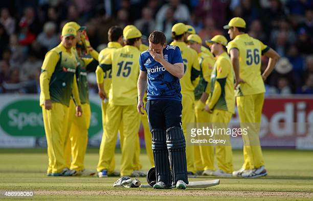 England captain Eoin Morgan reacts after Moeen Ali of England is dismissed during the 2nd Royal London OneDay International match between England and...