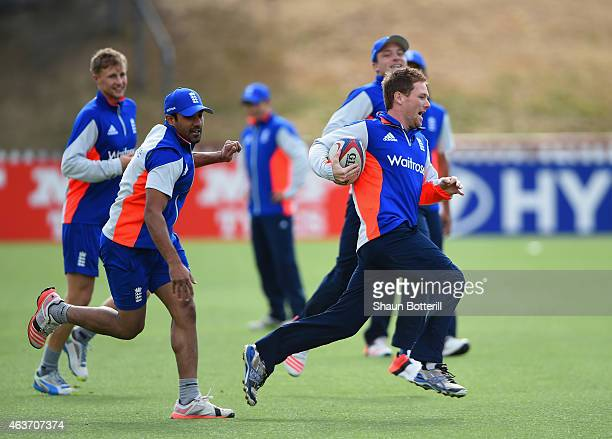 England captain Eoin Morgan runs with the balll in a game of touch rugby during an England nets session at Basin Reserve on February 18 2015 in...