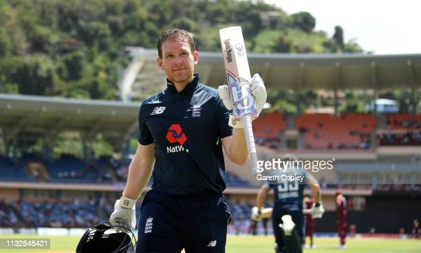 England captain Eoin Morgan salutes the crowd as he leaves the field during the 4th One Day International match between the West Indies and England...