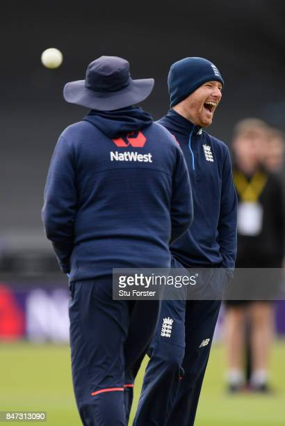 England captain Eoin Morgan shares a joke with coach Trevor Bayliss during England nets ahead of the T20 against the West Indies at Emirates Durham...